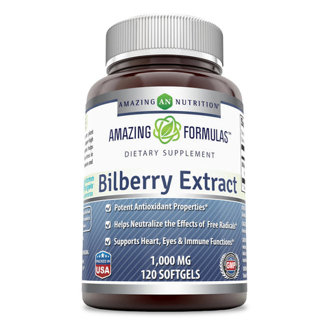 Amazing Formulas Bilberry Extract 1000 Mg 120 Softgels