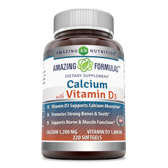Amazing Formulas Calcium With Vitamin D3 Calcium 1200 Mg Vitamin D3 1000 Mg 220 Softgels