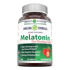 Amazing Formulas Melatonin 5 Mg 120 Tablets Strawberry Flavor