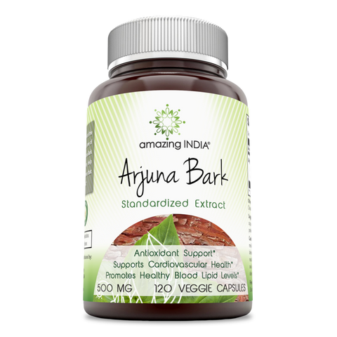 Amazing India Arjuna Bark Standardized to 25 Tannins 500 Mg 120 Veggie Capsules