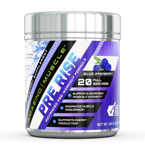Amazing Muscle Pre Rise Advanced Pre Workout Formula 20 Servings Blue Raspberry
