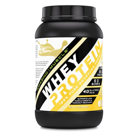 Amazing Muscle Whey Protein (Isolate & Concentrate) 2 Lb Banana Flavor