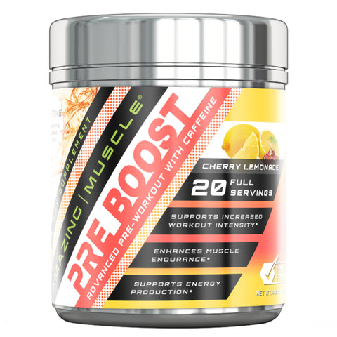 Amazing Muscle Pre Boost Pre Workout with Caffeine Cherry Lemonade 20 Servings