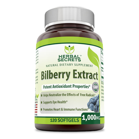 Herbal Secrets Bilberry Extract 1000 Mg 120 Softgels