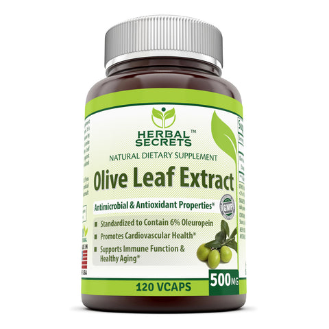 Herbal Secrets Olive Leaf Extract 500 Mg 120 Vegetarian Capsules