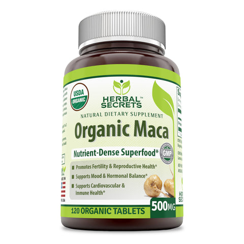 Herbal Secrets Organic Maca 500 Mg 120 Tablets