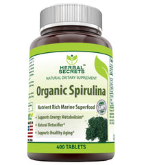 Herbal Secrets Organic Spirulina 500 Mg 400 Tablets - herbalsecrets