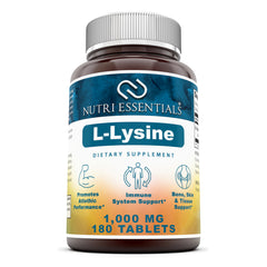 Nutri Essentials L Lysine  1000 Mg 180 Tablets
