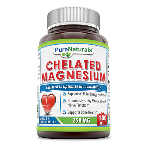 Pure Naturals Chelated Magnesium Dietary Supplement 250 Milligrams 180 Tablets