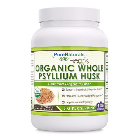 Pure Naturals Organic Whole Psyllium Husk powder 24 Oz