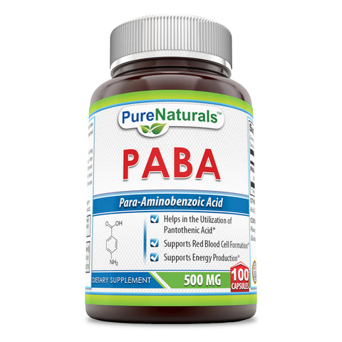 Pure Naturals PABA Dietary Supplement 500 Mg 100 Capsules