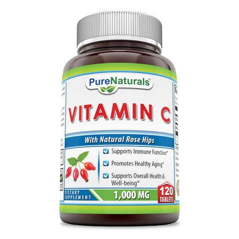 Pure Naturals Vitamin C with Rose Hips 1000 Mg 120 Tablets