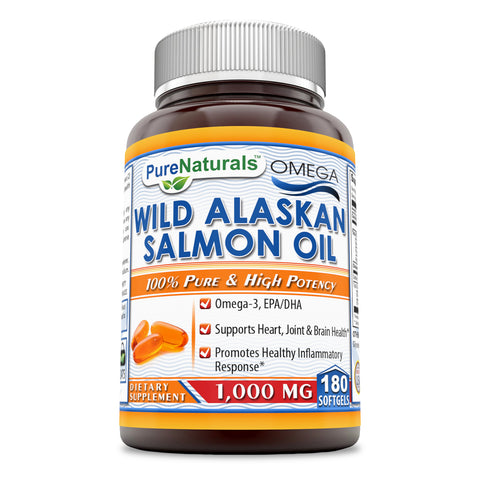 Pure Naturals Wild Alaskan Salmon Oil 1000 Mg 180 Softgels