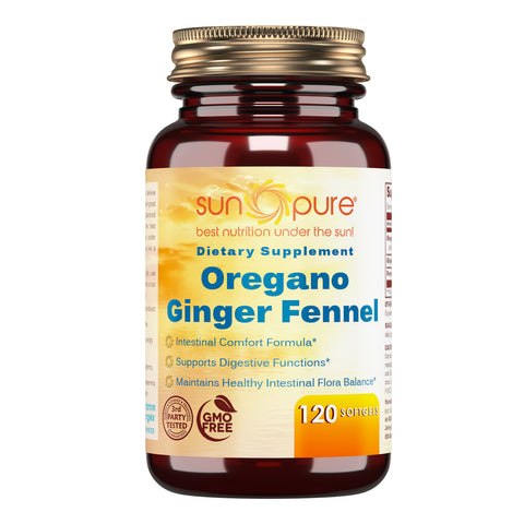 Sun Pure Premium Quality Oregano Ginger Fennel 120 Softgels