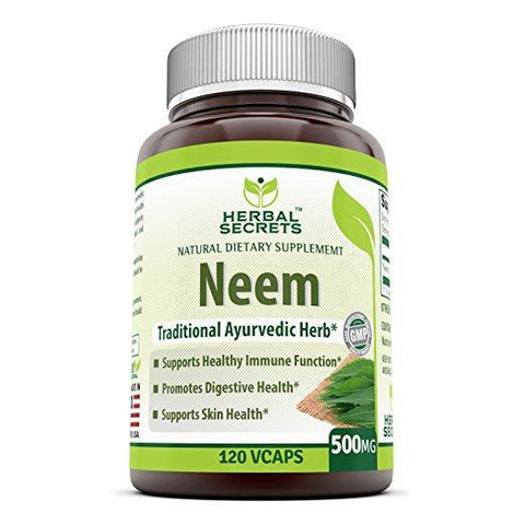 Herbal Secrets Neem 500 Mg 120 Vegetarian Capsules - herbalsecrets