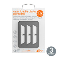 Slice 10528 Replacement Safety Blades for Utilitty Knife with Pointed Tip White Pack of 3 Blades