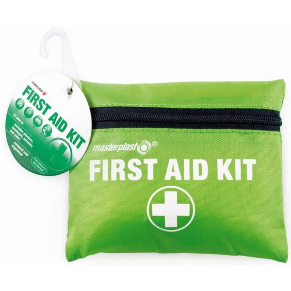 24 PIECES FIRST AID KIT Complete with polyester zip case with belt hooks / loops