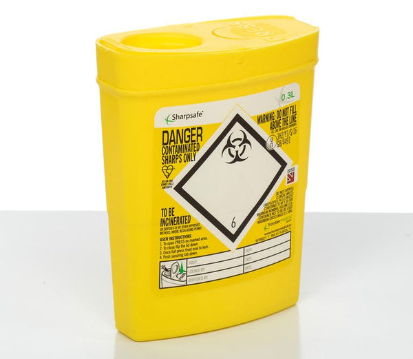 0.3 Litre Yellow Sharps Container (Pack of 2)