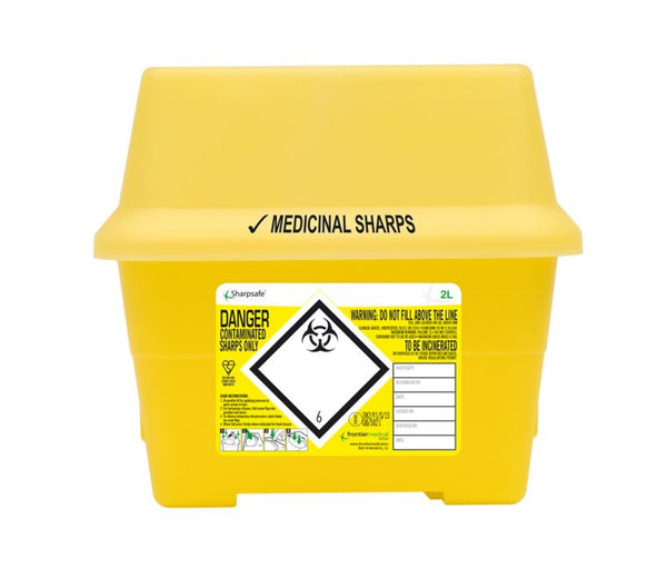 2 Litre Yellow Sharps Container (Pack of 2)