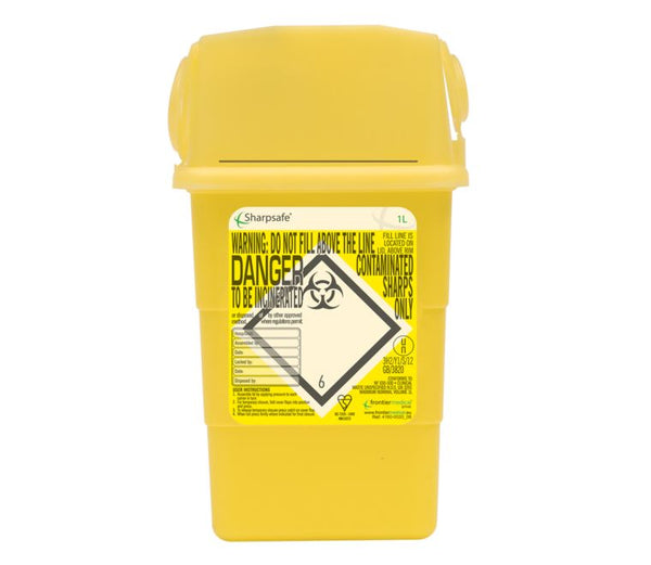1 Litre Yellow Sharps Container (Pack of 2)