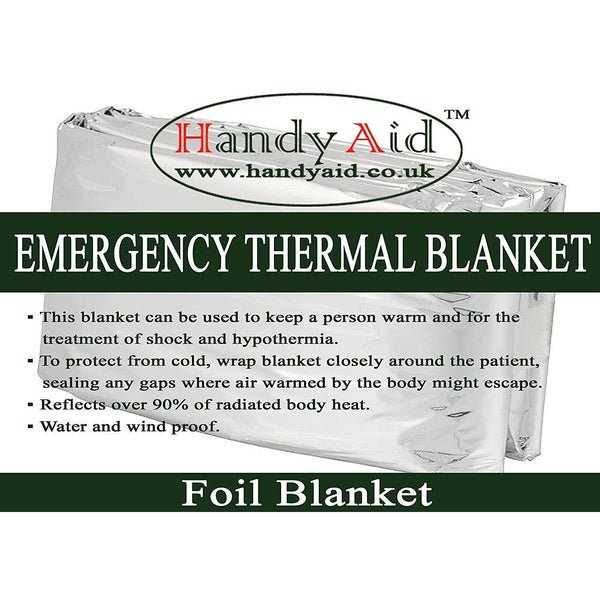 Handy Aid Emergency Thermal Foil Blanket (Pack of 2)