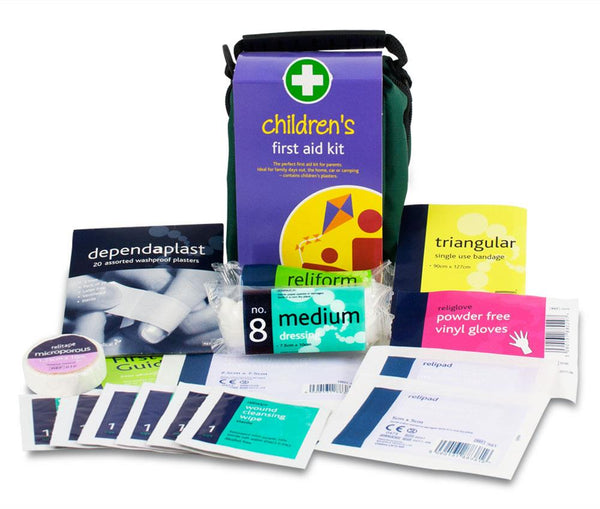 Children's First Aid Kit in Green Bag