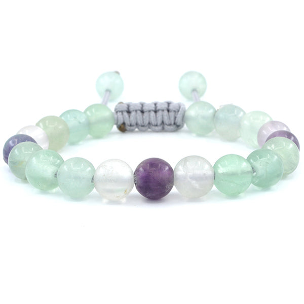 Vosswood Fluorite adjustable beaded bracelet. Handcrafted in Sacramento, CA