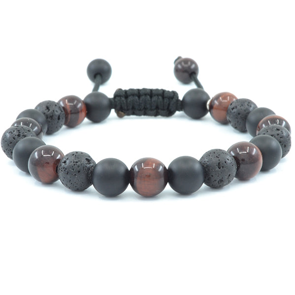 Red Tiger's Eye, Matte Black Onyx, Lava