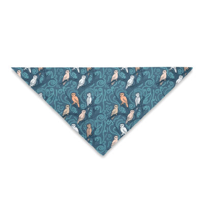 Midnight Blue with Blushing Owls Pet Bandanas