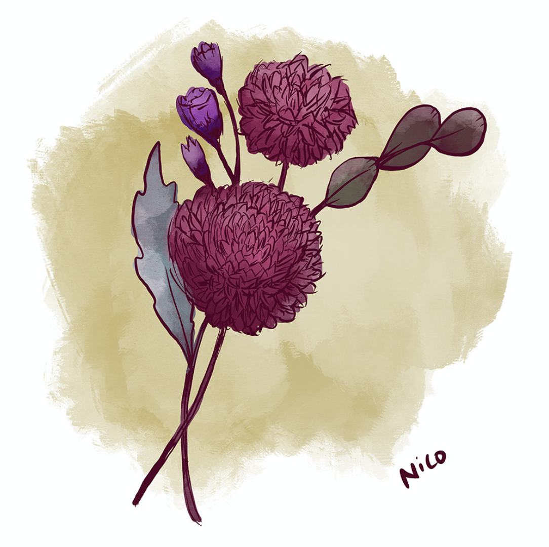Flowers drawn while listening to Mitski