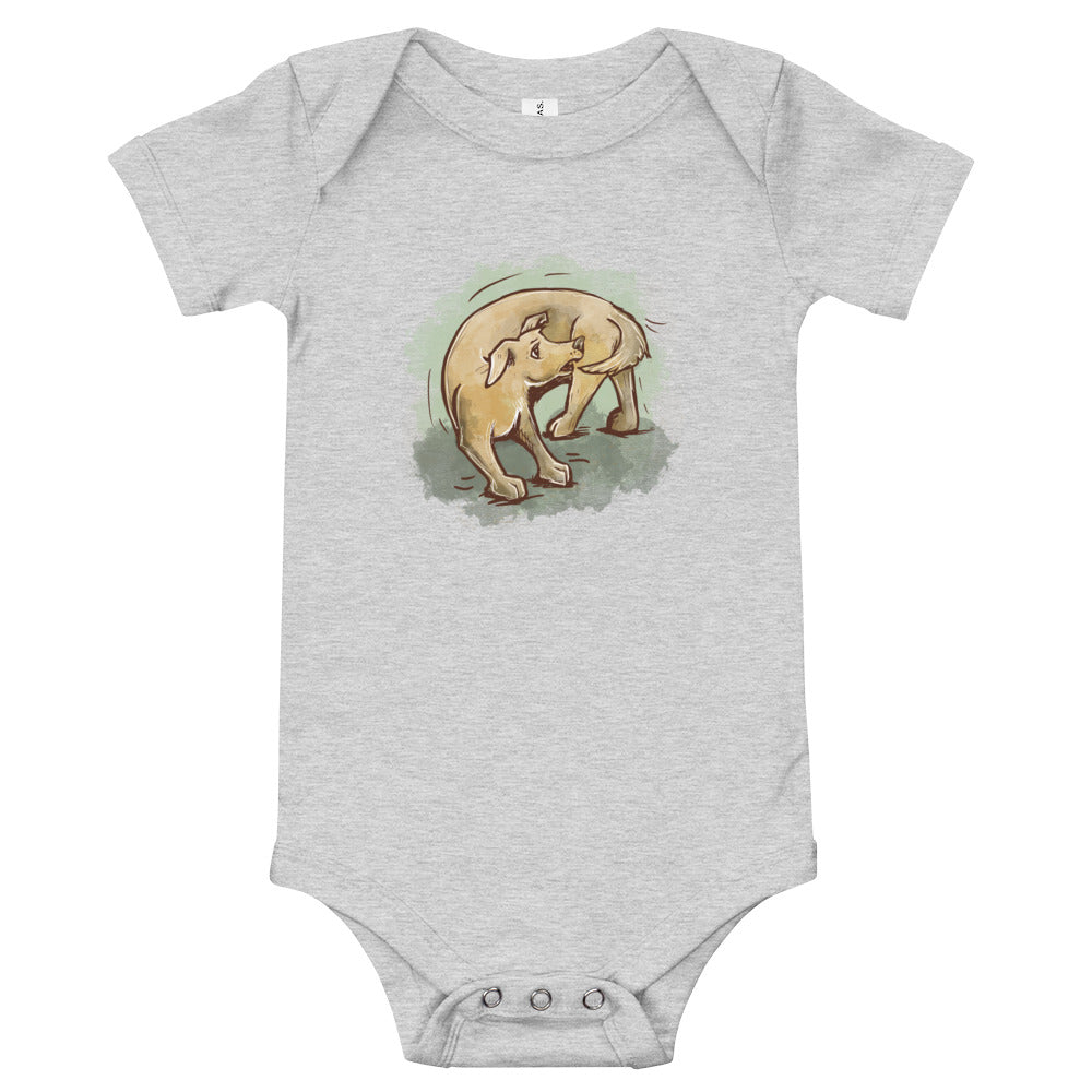 Cute Dog Chasing Tail Baby Short Sleeve One Piece