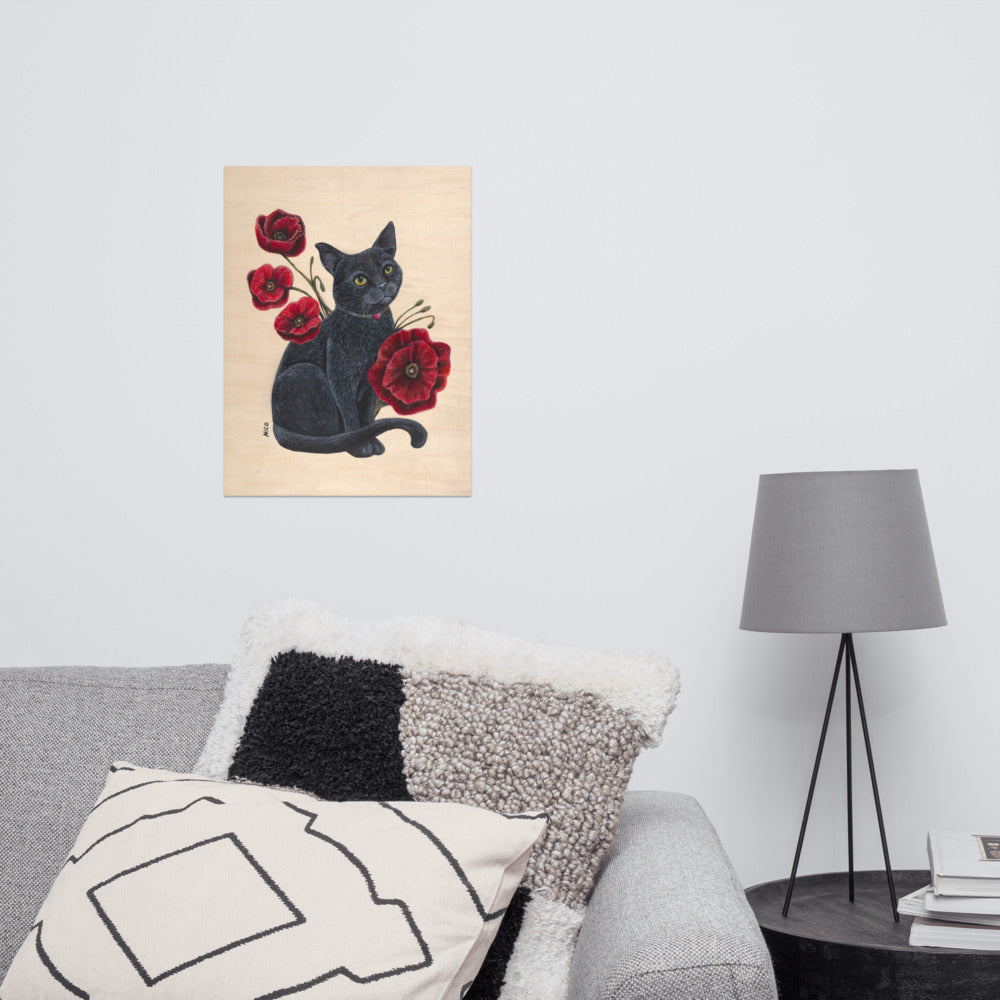 Cat with Poppies Art Print