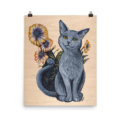 Cat with African Daisies Art Print