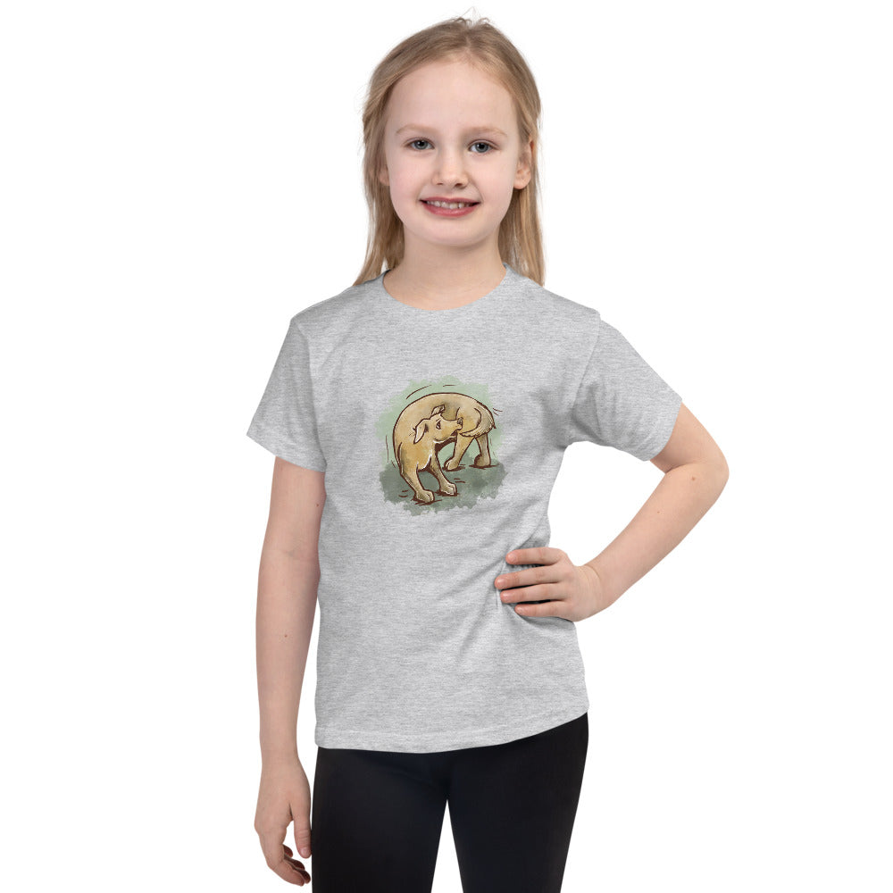 Cute Dog Chasing Tail Short sleeve kids t-shirt