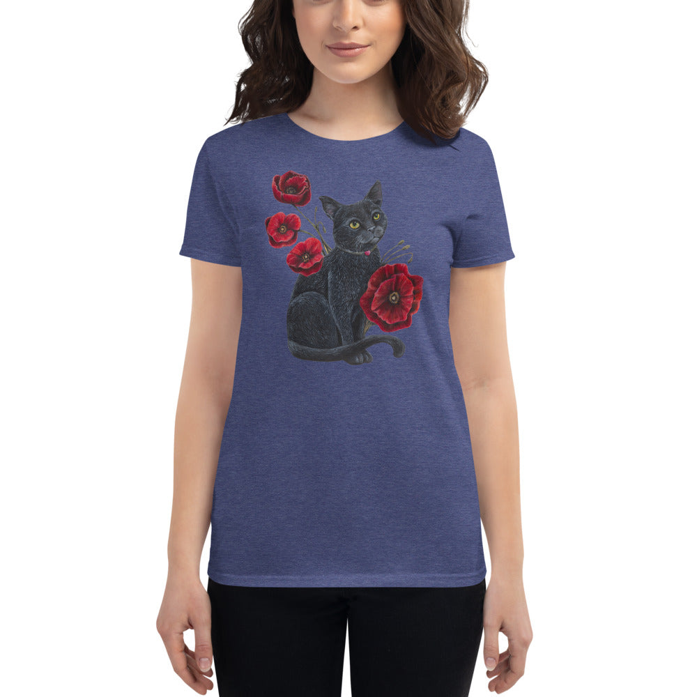 Cat with Poppies Women's short sleeve t-shirt