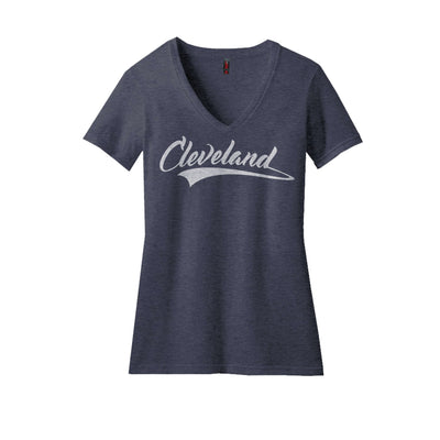 Ladies Cleveland Script V-neck Heather Navy - Platypus Board Co.