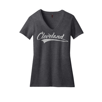 Ladies Cleveland Script V-neck Heather Charcoal - Platypus Board Co.