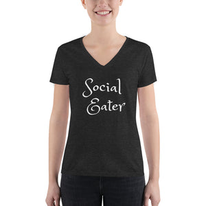 Social Eater Women's Fashion Deep V-neck Tee