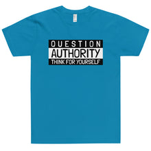 Load image into Gallery viewer, QUESTION AUTHORITY THINK FOR YOURSELF  B +W T-Shirt (Made in the USA)