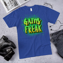 Load image into Gallery viewer, Gains Freak Neon Green T-Shirt (Made in the USA)