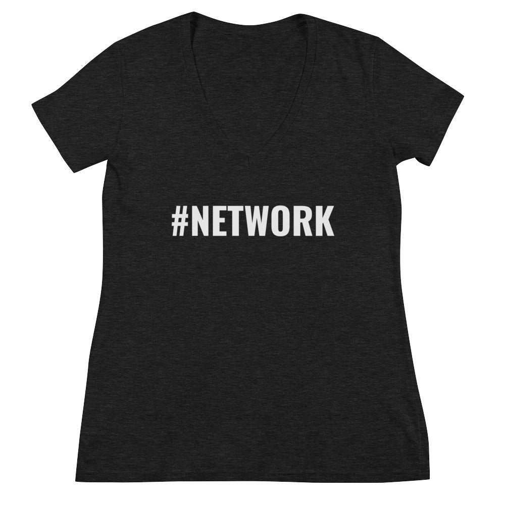NETWORK Women's Fashion Deep V-neck Tee