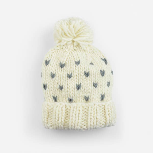 The Blueberry Hill - Sawyer Tiny Hearts Knit Beanie Cream/Grey
