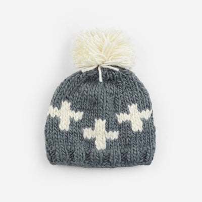 The Blueberry Hill - Miko Swiss Cross Knit Hat - Grey/Cream