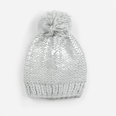 The Blueberry Hill - Pearl Metallic Knit Hat Grey/Silver