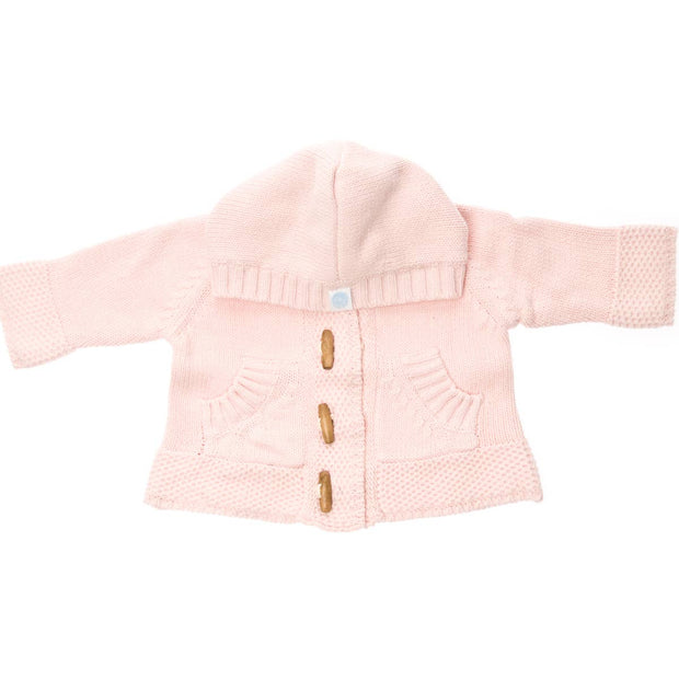 Knit Cotton Sweater with Hood - Pink