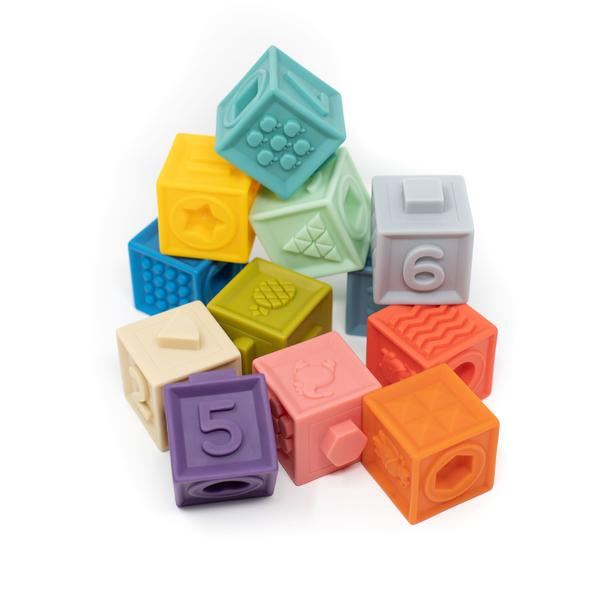 Three Hearts Building Block Teether & Bath Toy