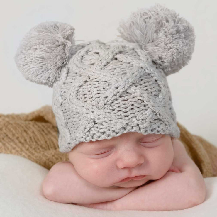 Huggalugs Aran Knit Double Pom Newborn Hat