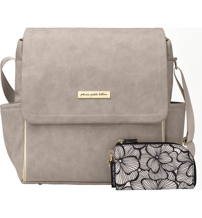 Boxy Backpack in Grey Matte Leatherette