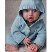 Knit Cotton Sweater with Hood- Blue