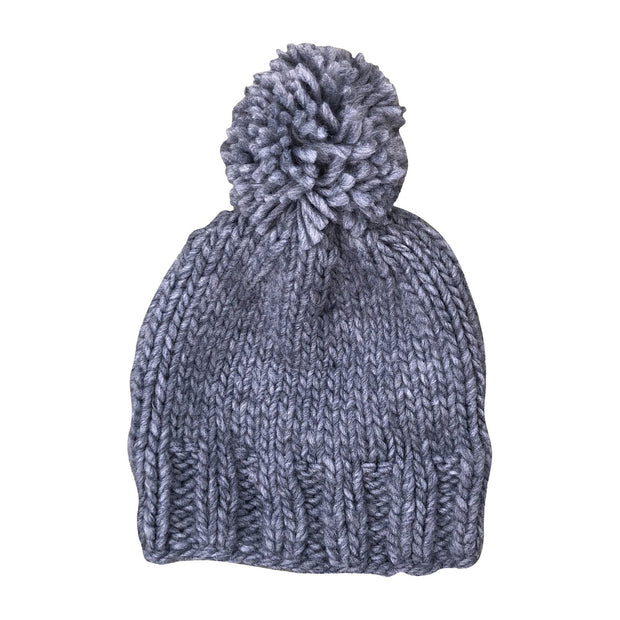 The Blueberry Hill - Single Pom Knit Hat - Gray